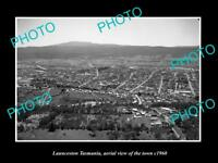OLD LARGE HISTORIC PHOTO OF LAUNCESTON TASMANIA, AERIAL VIEW OF THE TOWN c1960 2