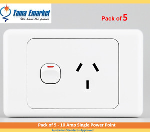 5 x 10 Amp Single Power Point GPO Socket Outlet Electrical SAA