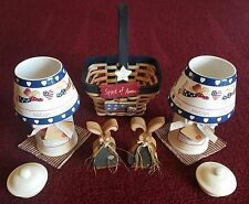 Home Interior Ceramic Candle Shades One Nation Under God & Candles & Basket Guc!