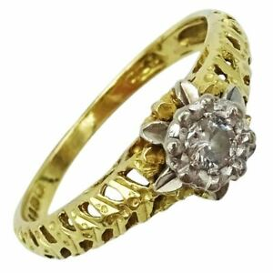 18ct Gold Ladies Diamond Ring Fancy Patterned Shoulders 0.04ct