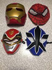 Superhero Boys Dress Up Mask Lot -Power Rangers SpiderMan Iron-Man