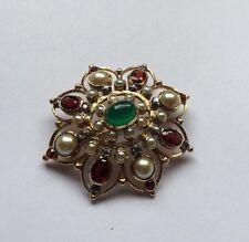 Hallmarked 18ct 18k Gold Diamond Garnet Jade Pearl Gemstone Cluster Brooch Pin
