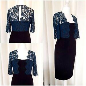 L K Bennett Black Blue Lace Dress Size 12 Worn Once
