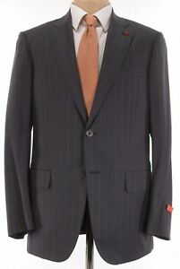 ISAIA NWT Suit Sz 44R In Charcoal W/ Bold Orange Stripe 160's Wool Base S $4,295