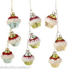 Cupcake Cluster Glass Christmas Ornament  candy color set  sp 3422927 NEW RAZ