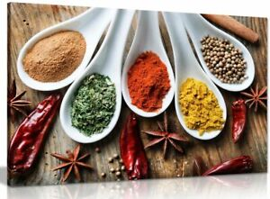 Spices On Table Food Kitchen Canvas Wall Art Picture Print