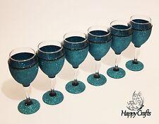 Glitter Sparkle Top & Base Wine Glasses Set of 6 Teal Blue