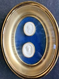 Antique Grand Tour Cameos Intaglio Figural Medallions Gold Turquoise Wall Frame