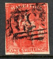 Mauritius 1859 Imperf vermilion 1/- used SG34