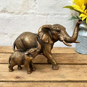 Vintage Bronze Mother Elephant Baby Ornament Decorative Sculpture Statue Figure