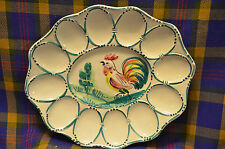 Hand Painted Made in Italy Oval Egg Plate w/Rooster & Greenery in Center-NICE