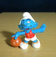 Smurfs 20211 Basketball Smurf Vintage Sports Figure PVC Toy 1985 Peyo Figurine
