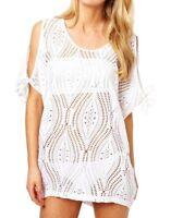 Lau-Fashion Damen Netzshirt Tunika Strandkleid Weiß Bademode Sommer Bikini S/M/L