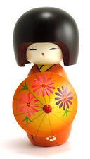 "Japanese Creative KOKESHI Wooden Doll Girl, 6.5""H Orange Umbrella, Made in Japan"