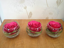 Artificial Flower Arrangements Set Of 3 Pink Rose & Grass In Glass Bowls & Water