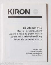 Kiron 80-200mm 4.5 Lens Instruction Manual Book - English Fr Es De - USED B48