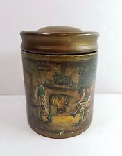 "Vtg Ceramic Pipe Tobacco Cigar Humidor Jar Italy Home & Hearth Scene 6"" Holder"