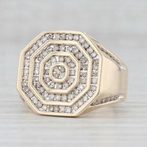 Men's 0.70ctw Diamond Halos Ring 10k Yellow Gold Size 10.5 VS2