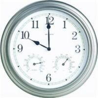 AcuRite 14-Inch Pewter Indoor/Outdoor Wall Clock with Thermometer and Hygrometer
