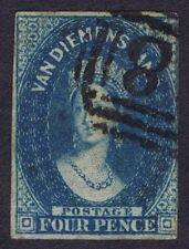 Tasmania 1855 SG17 4d Deep Blue Fine Used Cat. £130.00
