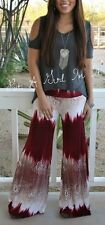 NEW BURGUNDY TAUPE PAISLEY TIE DYE OMBRE BELL BOTTOM PALAZZO PANTS S M L SO CUTE