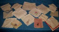 Vtg Lot 69 Linen/Cotton Napkins Table Mats Lace Embroidered & More!