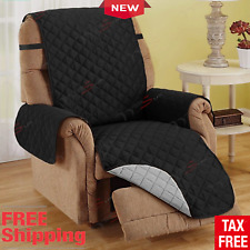 Microfiber Recliner Quilted Reversible Chair Arm Cover Protector Black/Grey New