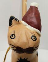 Wooden Cat Christmas Ornament Painted Folk Art Primitive Whimsical