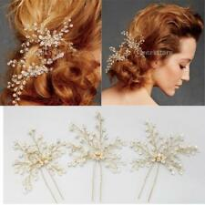 2pcs Wedding Party nuptiale strass en or tordu Wire Hairpins Hair Clips