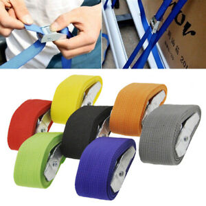 1PC 1-5M Pack Cam Tie Down Strap Cargo Lash Luggage Bag Belt With Metal Buckle