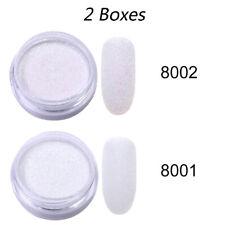 2 Boxes Gradient Glitter Powder Glitter White Nail Art Powders Nail Decoration