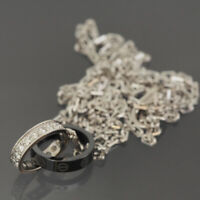 CARTIER 18K WHITE GOLD & BLACK LIMITED BABY LOVE DIAMONDS NECKLACE W/CERTIFICATE