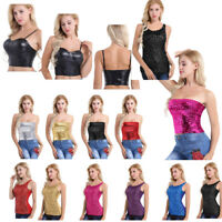 Fashion Women's Sequin Crop Top Rave Disco Leather T Shirt Blouse Vest Clubwear
