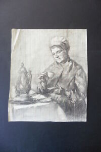 FLEMISH SCHOOL 19thC INTERIOR SCENE - WOMAN DRINKING COFFEE - CHARCOAL DRAWING