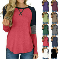 Women Long Sleeve Crew Neck Striped T-shirt Loose Casual Tunic Tops Tee Pullover