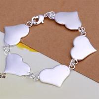 ASAMO Damen Armband mit 5 Herzen 925 Sterling Silber plattiert Herz A1215