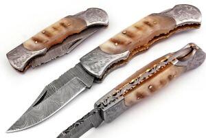 Hand made Damascus steel Folding/Pocket Hunting knife , Razor Sharp DB-7080-RM