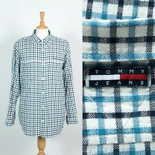 VINTAGE TOMMY HLFIGER JEANS BLUE TATTERSALL CHECK SHIRT 90s NINETIES CASUAL XL