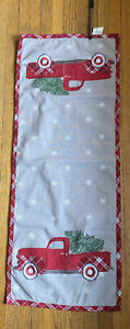 """St Nicholas Square Red Truck with Xmas Trees Table Runner 13 x 36"""" plaid gray"""