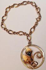 bracelet vintage couleur or gourmette maille déco pampille perle fine signé 5154
