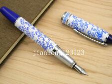 NEW Blue And White Porcelain Flowers Blue Cap Silver Trim Metal Fountain Pen