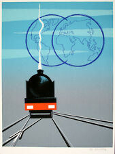 Original Vintage Travel Poster Train and Globes by Fix Masseau 1990 Hand Signed