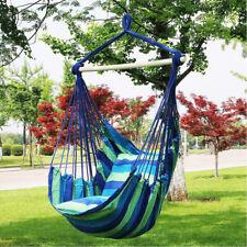 Gardern Deluxe Hanging Hammock Chair Swing Garden Outdoor Camping Blue