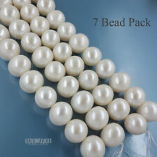 7 Freshwater Cultured Pearl Beads Egg Round Beads 11.8mm Off White #17170