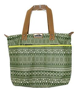 KAVU Large Tote Bag Shoulder Purse Green Aztec Beach Travel EUC