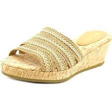 Calzado de mujer sandalias con tiras de color principal beige de lona