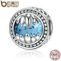 Bamoer European .925 Silver guard charm With Blue Zircon Fit Bracelets Jewelry