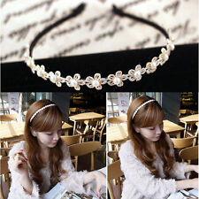 Best Sweet lady Beige hair band pearl Flower mujeres Lace diadema accesoriosVPSE