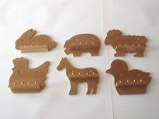 6 x 4pc Mini Farm Animal Thimble Display Racks ( Pine )(huge range-see list)