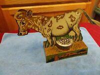 VINTAGE MECHANICAL TIN LITHO COW TOY PRESS MY TAIL & I MOO-00